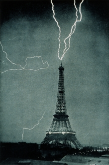 Eiffel Tower Lightning Strike Picture on Lightning Strikes The Eiffel Tower 1902 Via Wikipedia Public Domain