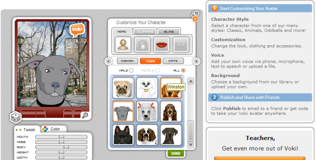 Screenshot from Voki.com